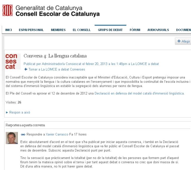 Particiàció debat LOMCE Consescat